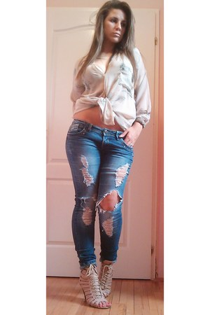 denim Depo jeans - sheer DIY blouse - Domino shop heels