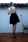 White-vintage-top-black-vintage-skirt