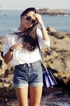blue Zara bag - blue Levis shorts - brown pull&bear sunglasses
