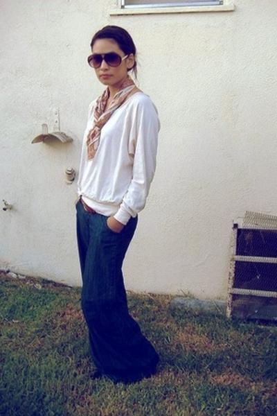 brown H&M sunglasses - blue Forever 21 pants - beige American Apparel top