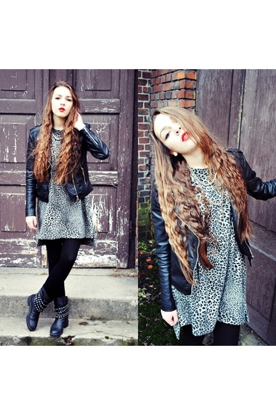 black Zara boots - charcoal gray Zara dress - black H&M jacket