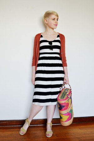 white striped Old Navy dress - coral H&M cardigan