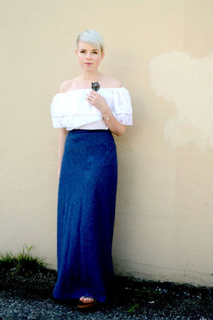 white off shoulder blouse - silver Tiffany bracelet - navy vintage denim skirt