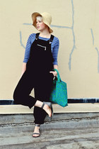 black xhilaration romper - white straw Gap hat - turquoise blue vintage bag