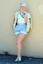 gold boho necklace - white shirt - sky blue shorts - dark brown OASAP sunglasses