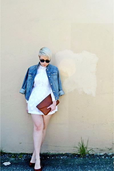 white mini OASAP dress - blue denim Gap jacket