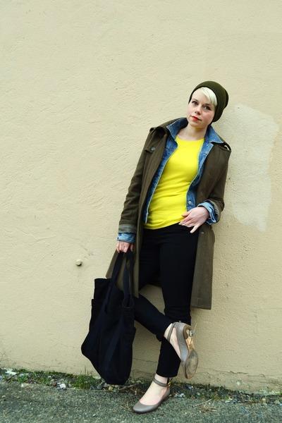 blue denim Gap jacket - army green Forever21 coat