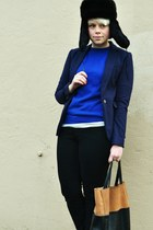 black fur hat - navy H&M blazer - tawny leather H&M bag - black BDG pants