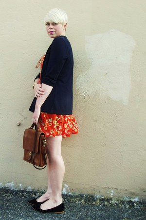 bronze vintage coach purse - red sheer Forever21 dress