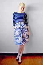 blue vintage skirt - navy striped Ralph Lauren top - brown Target flats