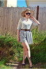 Dark-brown-oasap-sunglasses-white-american-apparel-skirt