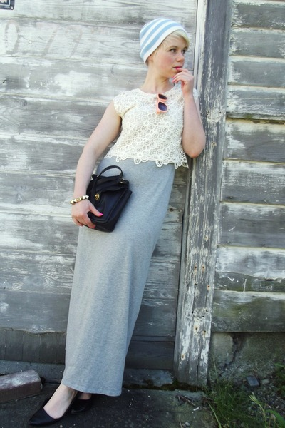 light pink lace H&M top - heather gray maxi H&M dress - black coach bag