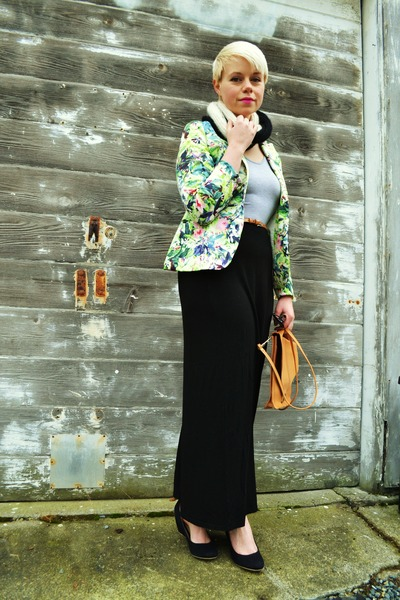 lime green tropical print vivilli blazer - bronze vintage bag
