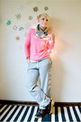 Navy-rei-boots-silver-h-m-scarf-heather-gray-victorias-secret-pink-pants