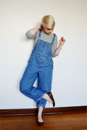 white Zara shirt - blue overalls Gap pants