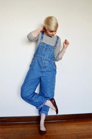 white Zara shirt - blue overalls Gap pants