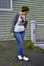 Army-green-beanie-topshop-hat-white-pug-zara-t-shirt