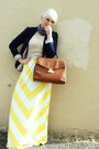 Light-yellow-maxi-gap-dress-beige-vintage-sweater-navy-h-m-blazer