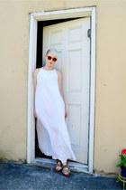 white vintage dress - tan Birkenstock sandals