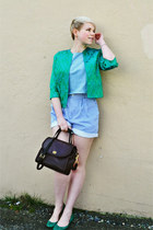 teal vintage brocade jacket - dark brown coach bag