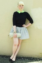 white polka dot American Apparel skirt - black zipper detail Gap sweater