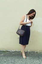 dark brown classic coach purse - navy Forever21 skirt - white Forever21 top