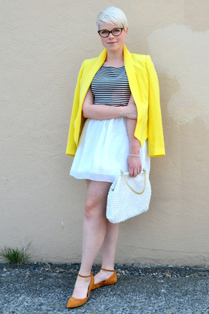 yellow silk truth and pride blazer - white OASAP skirt