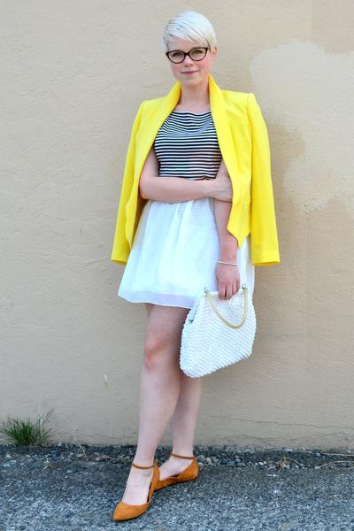 yellow silk truth and pride blazer - white OASAP skirt