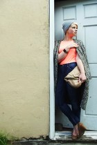 navy highriser madewell jeans - heather gray knit H&M hat - beige Aldo purse