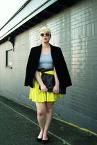 yellow neon silk Barneys New York skirt - black vintage velvet blazer