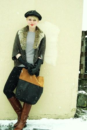 black leather tote H&M bag - brown vintage leather etienne aigner boots