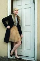 black thrifted wool united colors of benetton coat - ivory Zara shirt