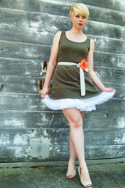 olive green American Apparel dress - carrot orange H&M accessories - white petti
