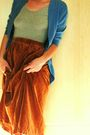 Blue-tresics-cardigan-gray-american-apparel-t-shirt-brown-handmade-skirt