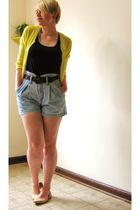 yellow Gap cardigan - blue Forever21 vest - blue grass roots shorts - brown Nord