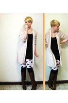 light pink Gap sweater - white H&M tights - black H&M skirt - black over the kne