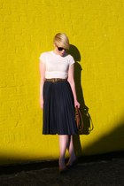 navy vintage skirt - burnt orange vintage coach purse