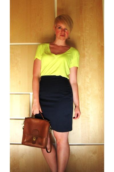 brown Catie Beatty earrings - yellow Nollie t-shirt - blue BP skirt - brown coac