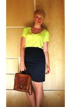 brown Catie Beatty earrings - yellow Nollie t-shirt - blue BP skirt - brown coac