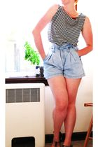 black Chico Design top - blue grass roots shorts - brown Key West shoes