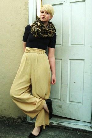 brown infinity H&M scarf - navy unitard American Apparel top