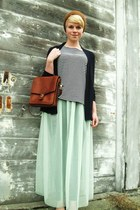 aquamarine sheer maxi American Apparel skirt - tawny vitnage coach purse