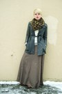 Gray-vintage-leather-coat-ivory-wool-sweater-camel-leopard-print-h-m-scarf