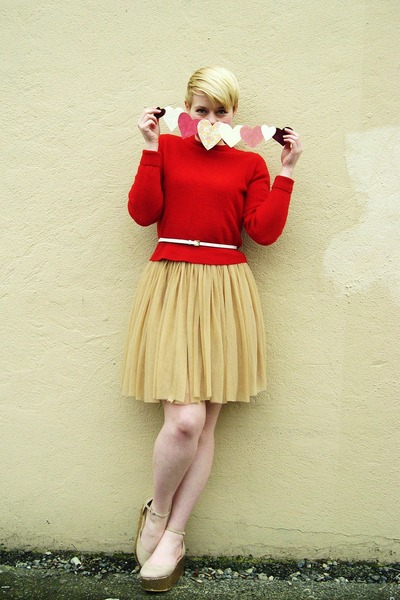 beige Forever21 skirt - red wool Lands End sweater - white H&M belt