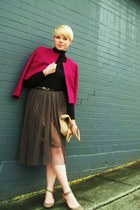 magenta vintage wool jacket - black Gap sweater - camel Aldo purse