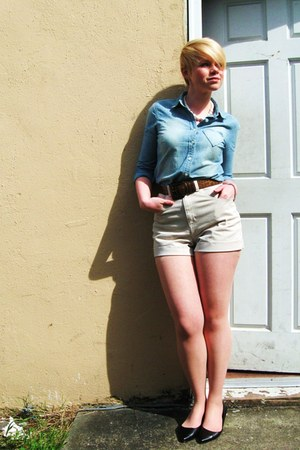 sky blue heart pocket J Crew shirt - off white high waist American Apparel short