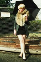 charcoal gray vintage leather coat - black H&M dress - camel vintage fur scarf