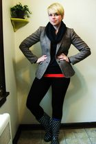 brown Evan Picone blazer - blue Gap sweater - black Gap leggings - black payless