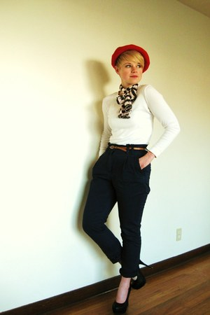 white Gap shirt - red vintage hat - navy H&M pants