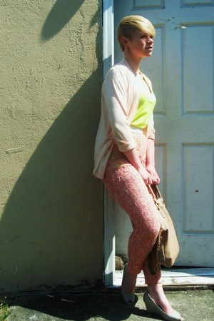 pink lace pants - camel Aldo bag - chartreuse Forever21 top